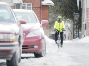 COBOURG -- Cobourg resident Geoffrey Honey rides his bicycle to work daily, regardless of the weather or season. He would benefit from more bicycle lanes as part of the new infrastructure plans in Cobourg. March 6, 2015.