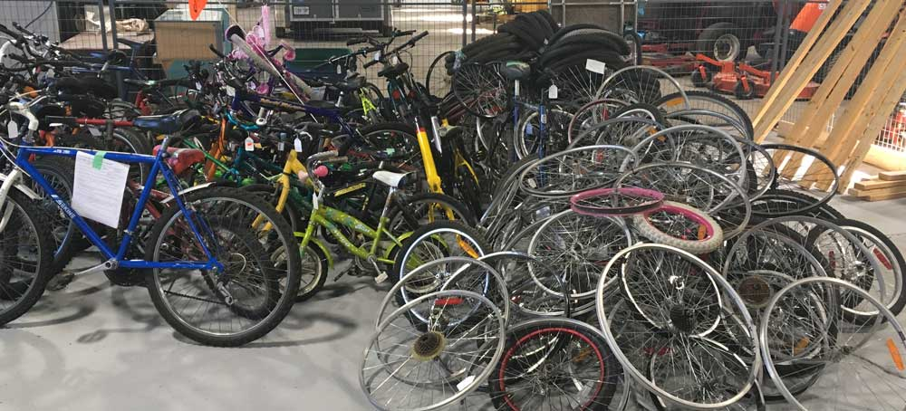 donated bicycles and parts